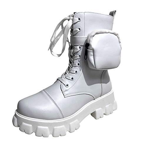 Huhu833 Damen Boots Knöchelstiefel für Frauen Schnürung mit Tasche High Heels Retro Stiefeletten Leder Schnürstiefeletten Blockabsatz wasserdichte Kurzschaft Stiefel (Weiß, 39 EU)