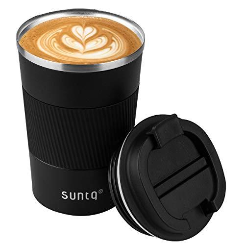 SUNTQ Kaffeebecher to go Thermo aus Edelstahl - Thermobecher mit Gummierte Manschette Doppelwand Isoliert - Kaffeetasse mit Auslaufsicherem Deckel Wiederverwendbar, Schwarz 380ml