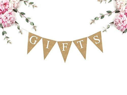 Regalos banner de arpillera regalos de boda banner de fiesta de cumpleaños banner de quinceañera regalos banner de mesa banner nupcial ducha banderas