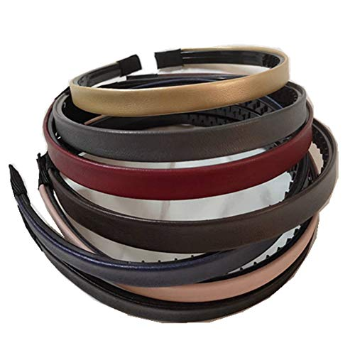 Bzybel Women Decorative Skinny Solid Leather Headbands Plastic Thin Hair Bands Hair Comb Elastic Bands Hair Ponytail Accessories with Teeth for Lady Girls Thick Fine Hair