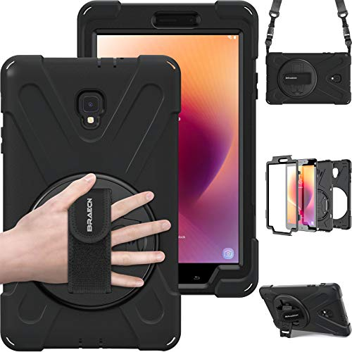 BRAECN Galaxy Tab A 8.0 2017 Case Full-Body Rugged Protective Case with 360 Degree Rotatable Hand Strap/Shoulder Strap for Tab 8.0(New) T380/T385 2017 Release for Kids Outdoor Workers (Black)