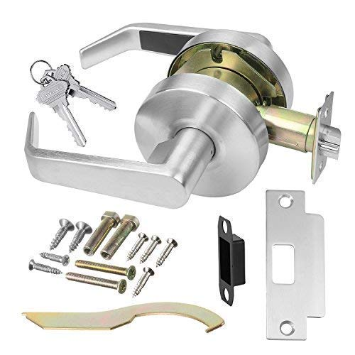 Door Handle Cylindrical Lock Storeroom Lock Function Key unlocks Exterior Brushed Chrome Finish LH5307LUS26D UL Certified ANSI/BHMA Grade 2 Commercial Door Lever for Heavy Duty Use