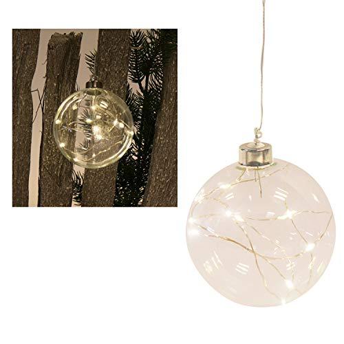 Roomando kerstdecoratie verlichting glazen bol helder met 10 LED-lampen op batterijen met haak