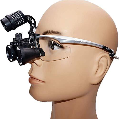 Mnjin Lente de Aumento portátil Espejo 3.5X Lupas binoculares quirúrgicas Vidrio óptico Diadema de Plata Gafas médicas 3W Faros LED