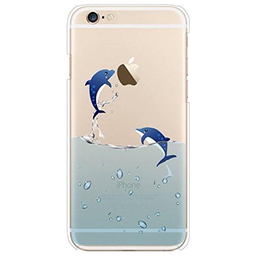 Ekakashop Compatibile con Cover iPhone 5C,Animale Ocean Nuoto Polar Bear Modello Trasparente Leggero Slim TPU Silicone della Pelle della AntiGraffio Custodia Protettiva Custodia,Fly Dolphin