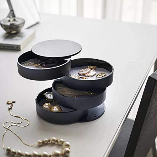 Cajones de caja de almacenamiento de cosméticos de escritorio Joyas ajustables Perfumes cosméticos Capas de soporte de exhibición Capas de caja de gran capacidad para el dormitorio-negro
