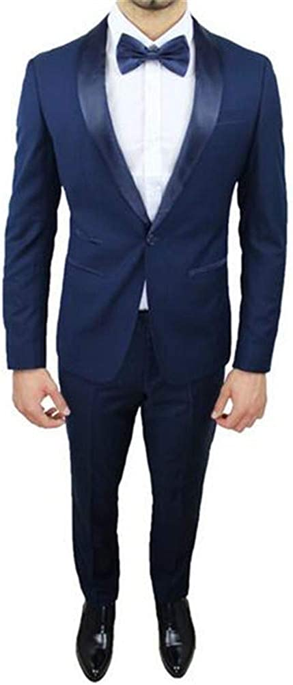 LIBODU Men's Formal Wear Pantsuits Shawl Lapel Business Office Grooms Tuxedos Work Wear Suits