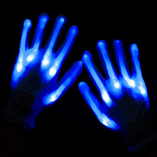 Lychee LED Light Up Gloves 6 Adjust Modes Lights Toys Rave Gloves for Kids&Adults Party/Light Show /Glow Party/Halloween/Christmas/Birthday Gift (Blue)