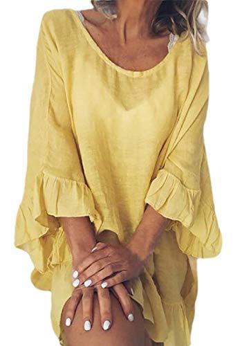 GenericC Womens Summer Tunic Dress Round Neck Short Sleeve Ruffle Casual Loose Flowy Babydoll...