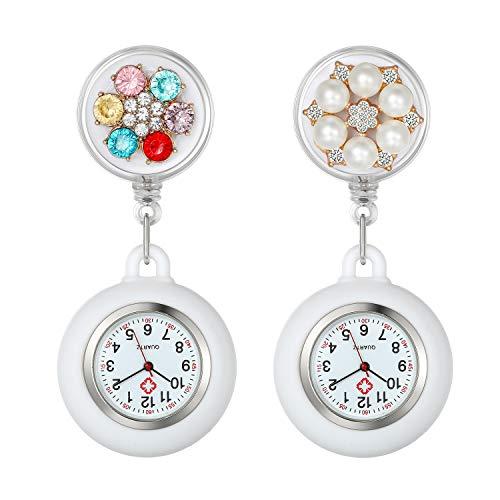 Lancardo Reloj Médico de Bolsillo con Decoración Floral Reloj Enfermera Elegante con Perlas y Diamantes de Inmitación Movimiento Cuarzo NO Impermeable Clip Broche Longitud Estirable 2 Pcs