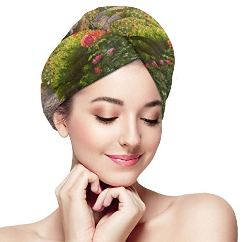 XBFHG Mikrofaser-Haartuchwickel für FrauenSchnelle trockene Haarkappe mit Knopf - grüne Landschafts-Straße im schönen Gartenhaus Frühling Sommer