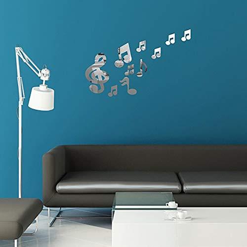 ZGGM 3D muur stickers, muziek notatie acryl spiegel muur stickers home decor woonkamer muur sticker art deco DIY