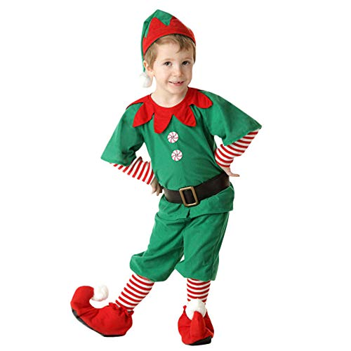 Clearance Forthery Christmas Elf Costume Cosplay Matching Family Christmas Set for Dad Mom Kid(Green1, baby-boys)