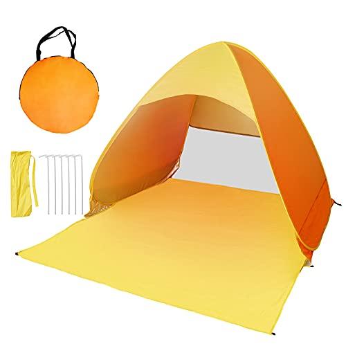 DoLike Pop Up Strandmuschel, Extra Leichtes Tragbares UV-Schutz-Strandzelt, Automatik 2-3 Personen Wasserdichtes Zelt für Picknick Park Reisen