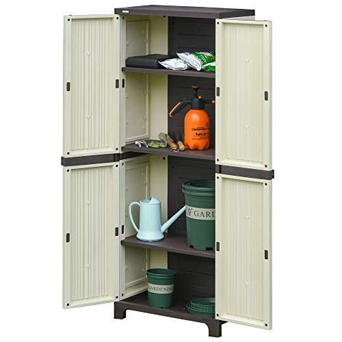 Outsunny Tall Plastic Utility Cabinet Garden Tool Shed Patio Double Door Storage Closet Wardrobe w/Four Adjustable Shelves Beige