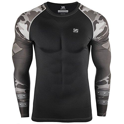 zipravs Druck Schwarz Fest Kompression Langarm-Shirt Grundschicht für Sport Fashion