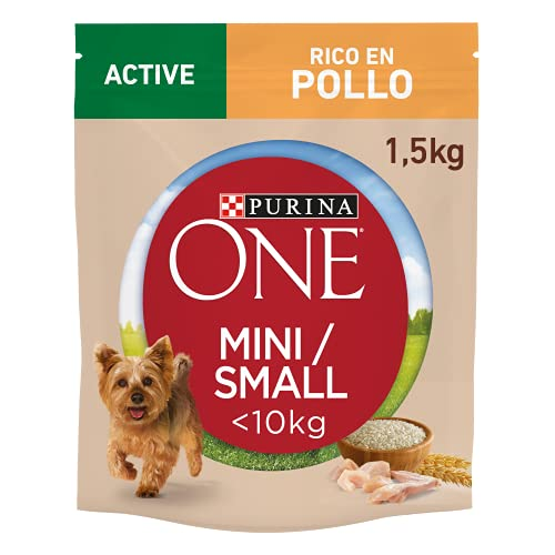 Purina ONE MINI Active Pienso para Perro Adulto Pollo y Arroz 6 x 1,5 Kg
