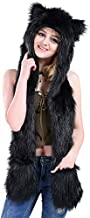 Halloween Costume Black Wolf Animal Anime Hood Cosplay Party with Paws and Ears Zipper Pocket