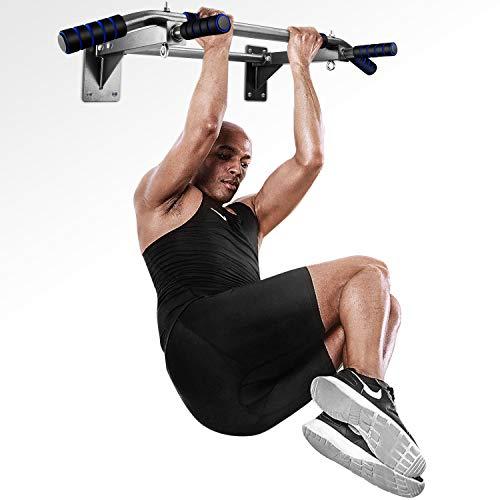 INTEY Barre de Traction, Fitness Fixation Murale Exercices avec Poigne Ergonomique et 2 Anneaux pour Punching-Ball,Charge Maximale:135 kg - lingues poignes antidrapantes