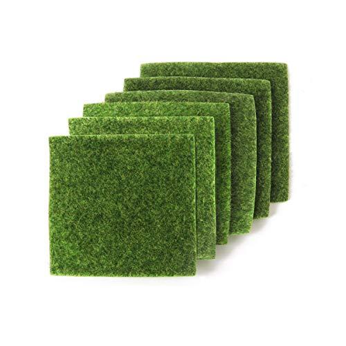 yalansmaiP Künstliche Gras, lebensechte Fee, Kunstrasen, Rasenmatte für Miniatur-Ornament, Garten, Puppenhaus, DIY-Dekoration, 15,2 x 15,2 cm, 6 Stück