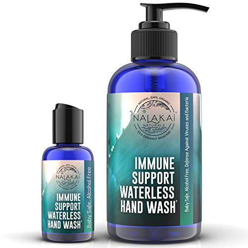Alcohol Free Hand Sanitizer Gel for Baby - 8oz Immune Support Organic Hand Sanitizer Gel with Aloe Vera (Extra 2oz Bottle Included) - Waterless No Rinse Hand Sanitizer - Nalakai Naturals