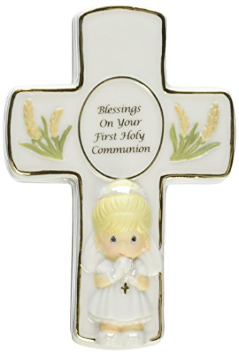 """Precious Moments, Communion Gifts, """"Blessings On Your First Holy Communion"""", Bisque Porcelain Box With Rosary, Girl, #123406"""