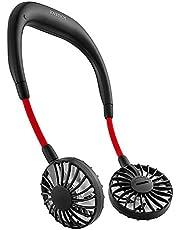 ハンズフリー ポータブル扇風機 首かけ 携帯扇風機 卓上扇風機 JOYSTECH USB扇風機 大容量 2000mah PSE認証 風量3段階調節 角度調整 小型 ファン 持ち運びに便利 静音 省エネ 充電式