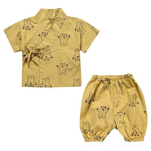Tonsee Tenues bébé garçon, T-Shirt de Dessin animé à Manches Courtes pour bébé Nouveau-né Tops Pantalons Ensemble de vêtements