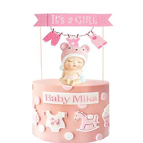 2 unidades de decoración rosa para tartas de bebé niña Baby Shower. Es una decoración para tartas para niñas.