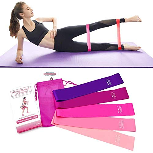 Elastici Fitness, [Set di 5] Banda Elastica Fasce Elastiche di Resistenza di Lattice con Istruzioni per l'esercizio, Borsa per Il Trasporto, Crossfit, Yoga, Pilates
