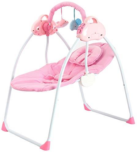 Babywiege Komplettset Schaukelfunktion Zusammenklappbare und Tragbare Stubenwagen 3 Schaukelgeschwindigkeiten Wiege Baby Lautstärkeregulierung und Abnehmbarem Spielzeugbügel Babyliege 85x66cm