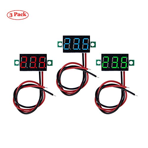 """Oak-Pine 0.36"""" 2 Wires Mini Digital LED Voltmeter Display - 3pcs DC 0-100V Gauge Tester with Reverse Polarity Protection and Accurate Pressure Measurement Voltage Tester Red, Green, Blue"""