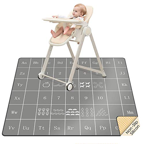 """51"""" Baby Splat Mat for Under High Chair, SI Anti-Slip Waterproof Multipurpose Splash Mat, Washable High Chair Mat Floor Protection Table Cloth Portable Picnic Play Mat with Early Education Pattern"""