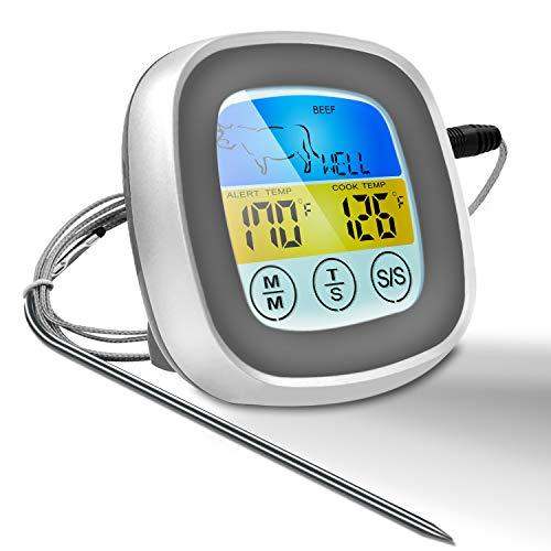Aiboria 2020 NEUESTE Sofortgelesenes Fleischthermometer 40-Zoll-Sondenkabel Digitalofen-Thermometer für sicheres Essen zum Kochen mit Touchscreen-Farb-LED-Display für Grill, Raucher, Grill