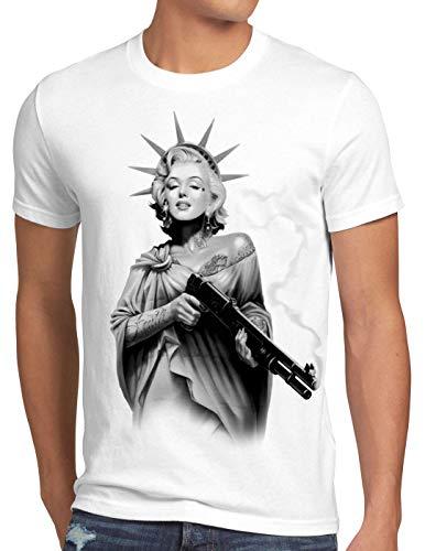 style3 Marilyn Liberty Tattoo T-Shirt Herren Freiheitsstatue USA New York, Größe:XL, Farbe:Weiß
