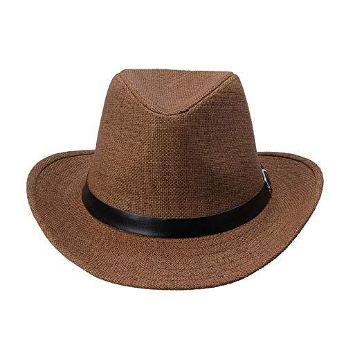 AIMICONG Sommerhut Mode 6 Farben Sommer Männer Strohhut Cowboyhut Herren Homburg Gentleman Hut Strandmütze Panama Hut D