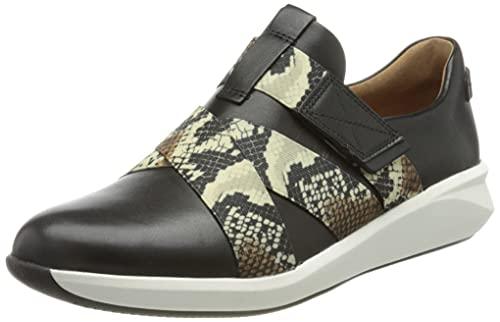 Clarks Un Rio Strap, Zapatillas Mujer, Piel sintética Combi de Color Negro, 41.5 EU
