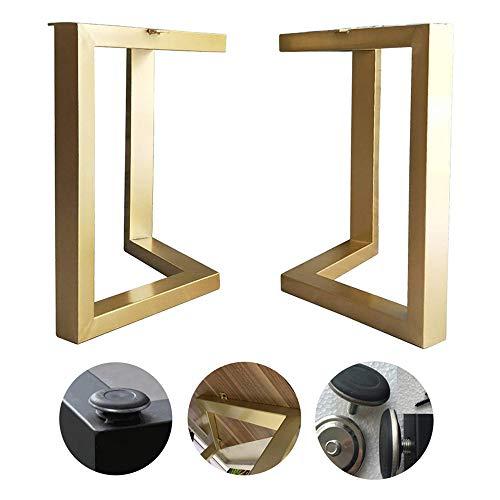 Tafelpoten 72cm hoog V-vormig, smeedijzeren meubels poten, met verstelbare meubels voeten, geschikt voor keuken eettafel, 2 PCS (goud/zwart) LDFZ 50×45cm B-gold