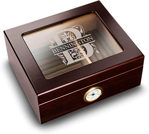Personalized Humidor Box with Glass Top and Round Humidifier (Filigree Design) - Made of Mahogany Wood, Unique Christmas, Father's Day, Valentines Day, Birthday Gift for Him, Boyfriend, Dad, Husband