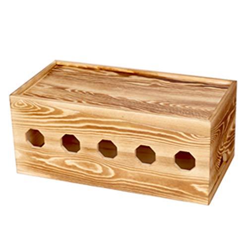 Caja Organizadora de Cables Caja de cruce de color de madera quemado madera sólida retro simple enchufe enchufe caja de almacenamiento de caja de almacenamiento enchufe caja de placa Organiza los Cabl
