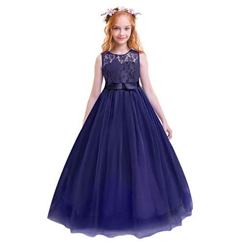 FYMNSI Vestido de Encaje Niña Sin Mangas Tutu Tul Vestido Largo Princesa...
