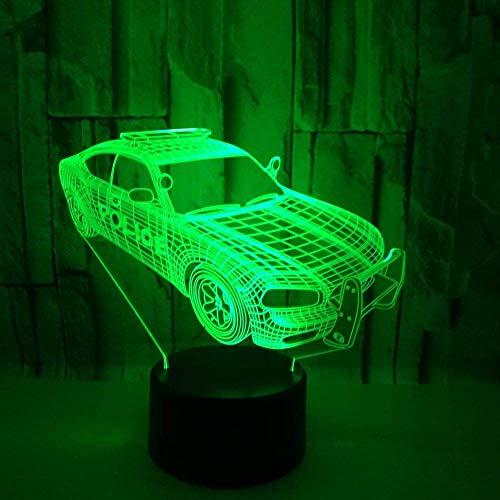 Modelo de coche Luz de noche 3D para niños Niños Niñas Regalo Lámpara de ilusión 3D para dormitorio junto a la mesa, 16 colores cambiantes LED Lámpara de humor Lámpara de mesa de escritorio Regal