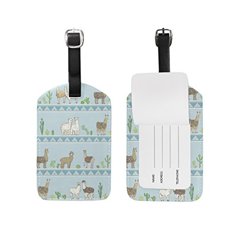 My Daily Cute Lama Cactus Luggage Tags PU Leather Bag Suitcases Baggage Label 2 Pieces Set