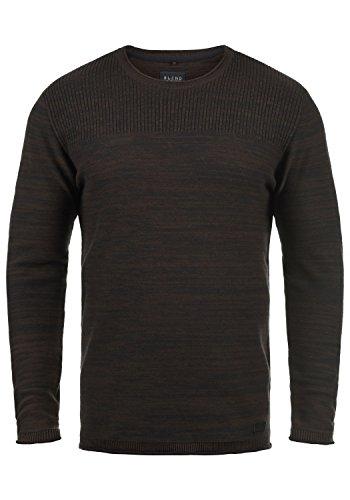 Blend Lino Herren Strickpullover Feinstrick Pullover mit Rundhalsausschnitt aus 100% Baumwolle, Größe:XXL, Farbe:Java (70062)
