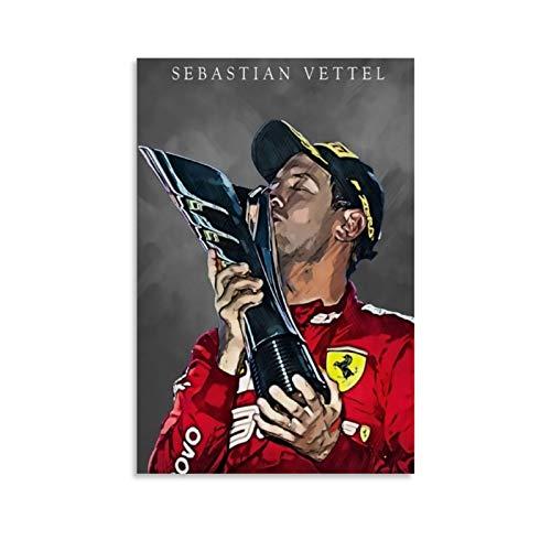 Huangchen F1 Weltmeister Rennfahrer Sebastian Vettel Poster, dekoratives Gemälde, Leinwand, Wandkunst, Wohnzimmer, Poster, Schlafzimmer, Gemälde, 40 x 60 cm