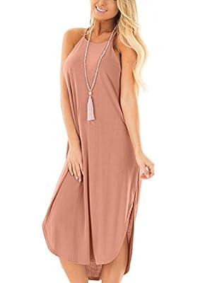 Jug&Po Women's Summer Casual Sleeveless Maxi Dress with Rounded Hem