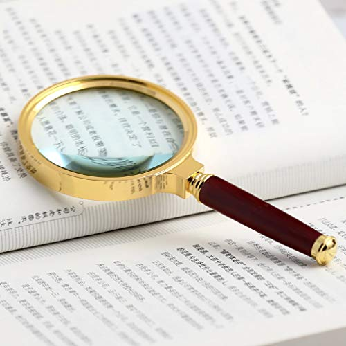 ElectroOptix 20X Handheld Magnifier Antique Handle Magnifier, Reading Magnifying Glass for Reading Book, Magnifying Glass with Non-Slip Handle (Color : Brown)