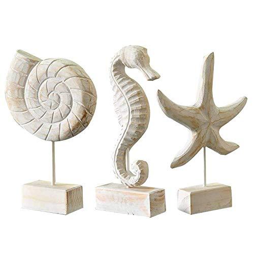 EDMISU 3pcs Wood Handmade Beach Nautical Style Figurines Starfish/Conch/Seahorse Statue Home Decor Ornaments