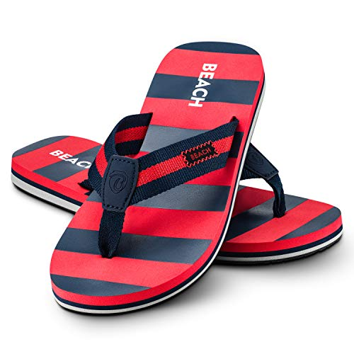 Ultrapower Flip-On Damen Zehentrenner | Flip Flops | Badelatschen | Strandschuhe | Duschlatschen | Zehenstegpantolette | Bad | Sauna Schuhe | Sandalen | ZT2 | Dk-Blau/Rot | Gr.39