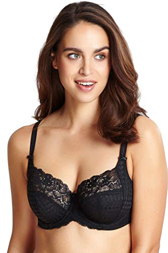 Panache Plus Size Women's Envy Balconnette Stretch Lace Bra, Black, 36F